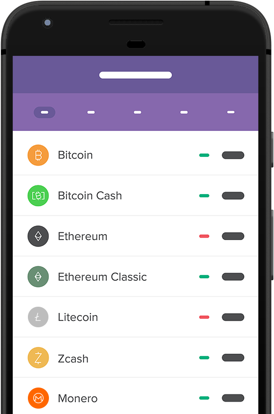 App screen. Buy coins. Check cryptocurrency prices.